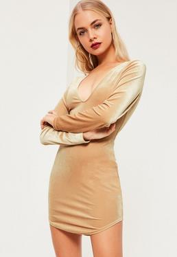 Robe manches longues nude en velours
