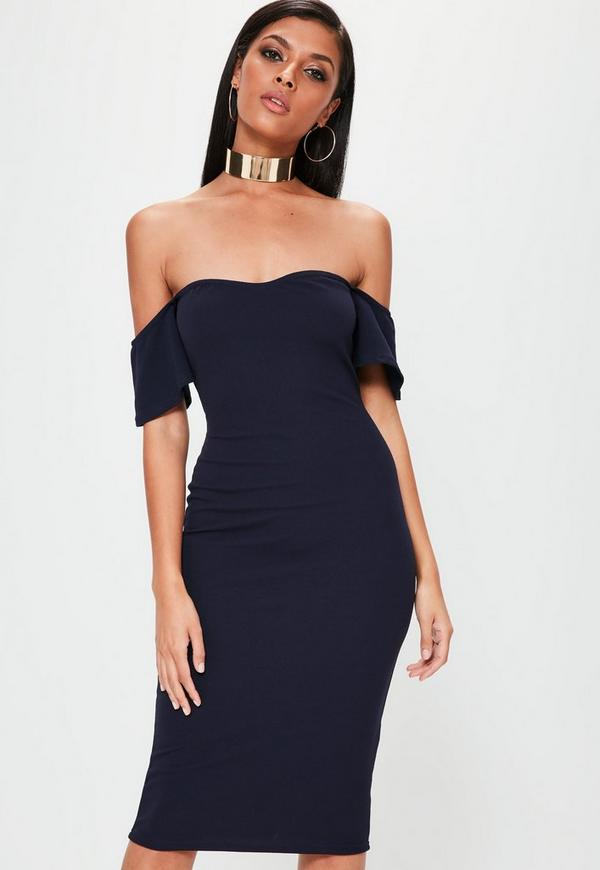 Navy Bardot Bodycon Midi Dress