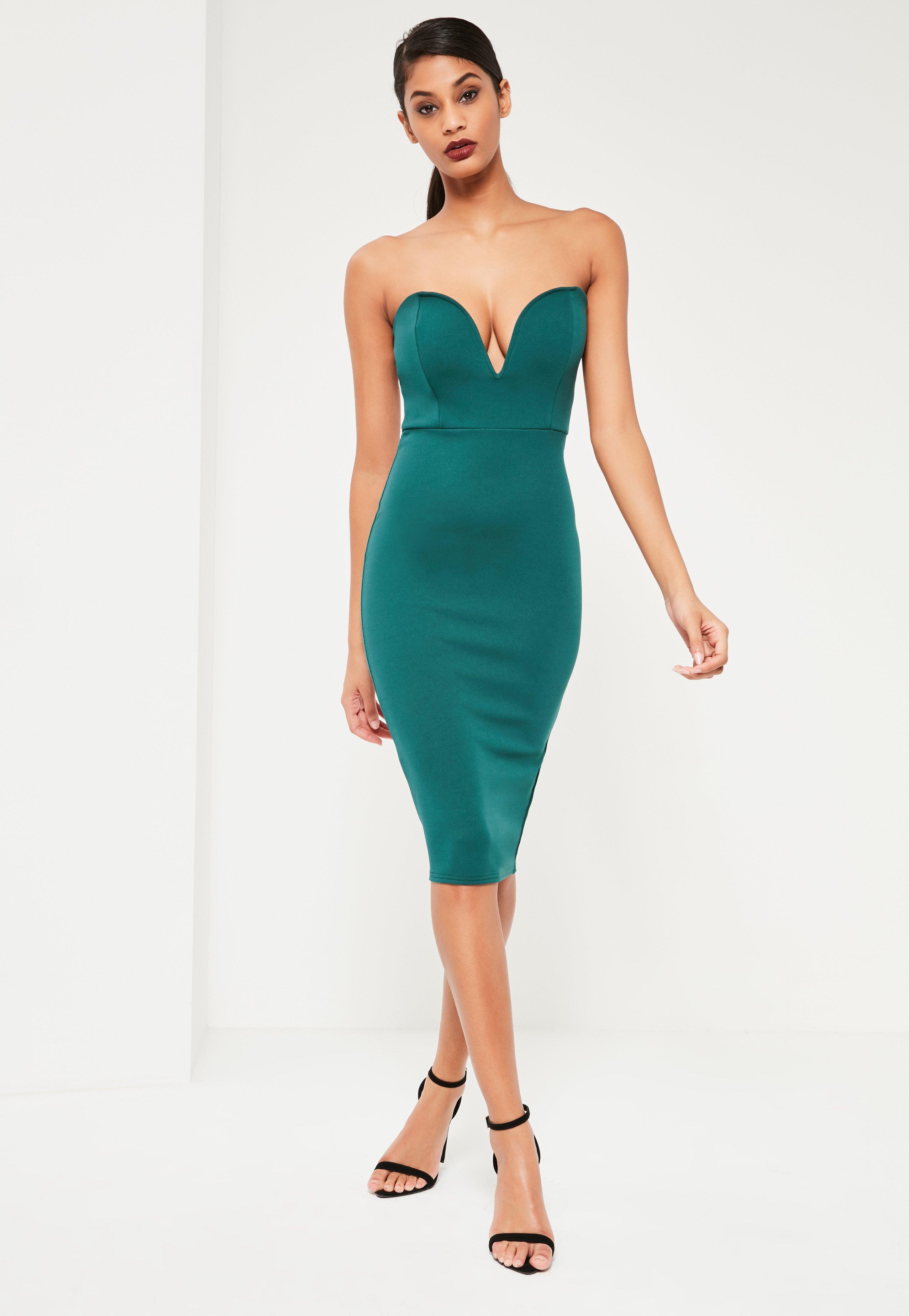 Green Scuba Plunge Bandeau Midi Dress