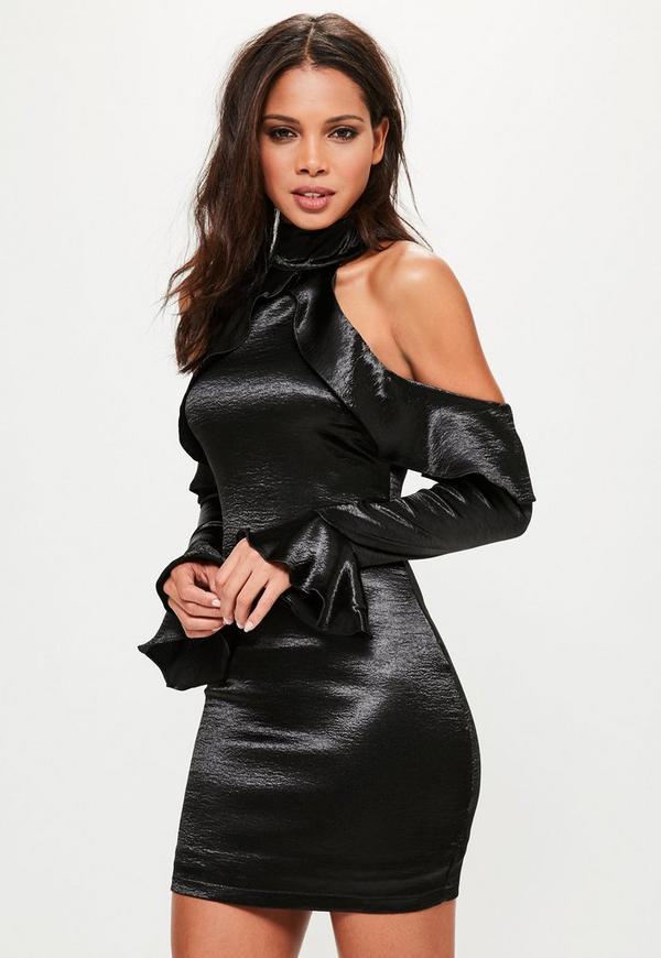 Black Satin Frill Cold Shoulder Shift Dress