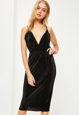 Black Low Back Pleated Tie Waist Cami Midi Dress