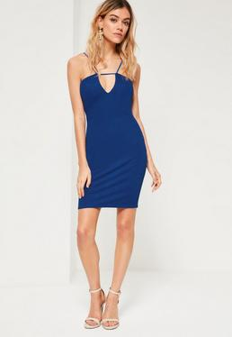 Cobalt Blue Strap Detail Bodycon Mini Dress