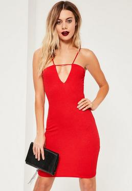 Red Strap Detail Bodycon Mini Dress