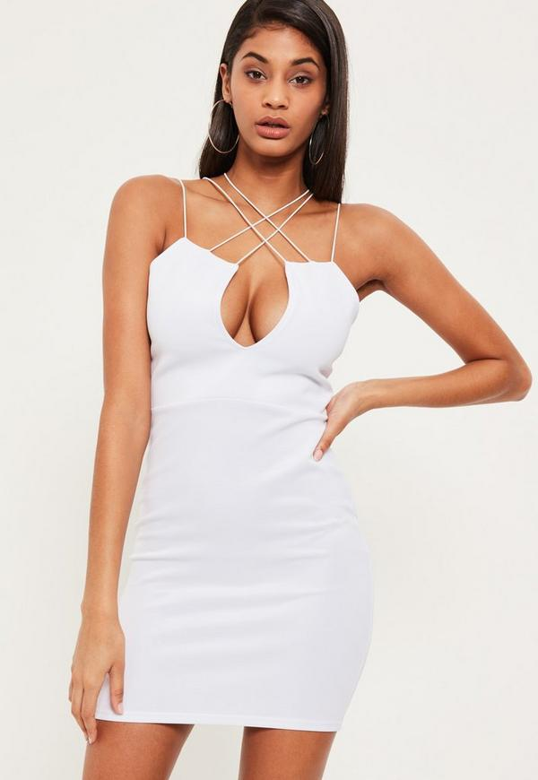 White Strap Detail V Cut Out Mini Dress