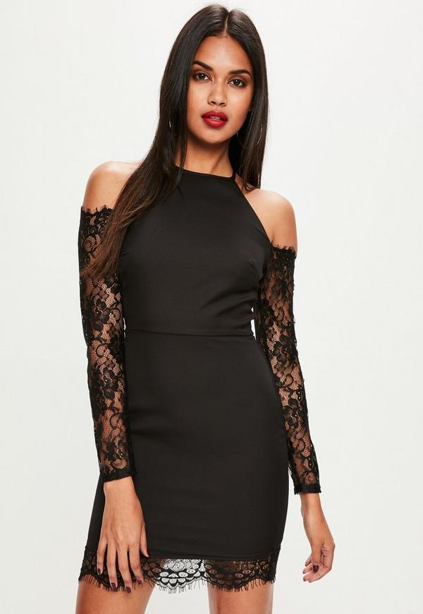 Black Crepe and Lace Sleeve Bodycon Dress