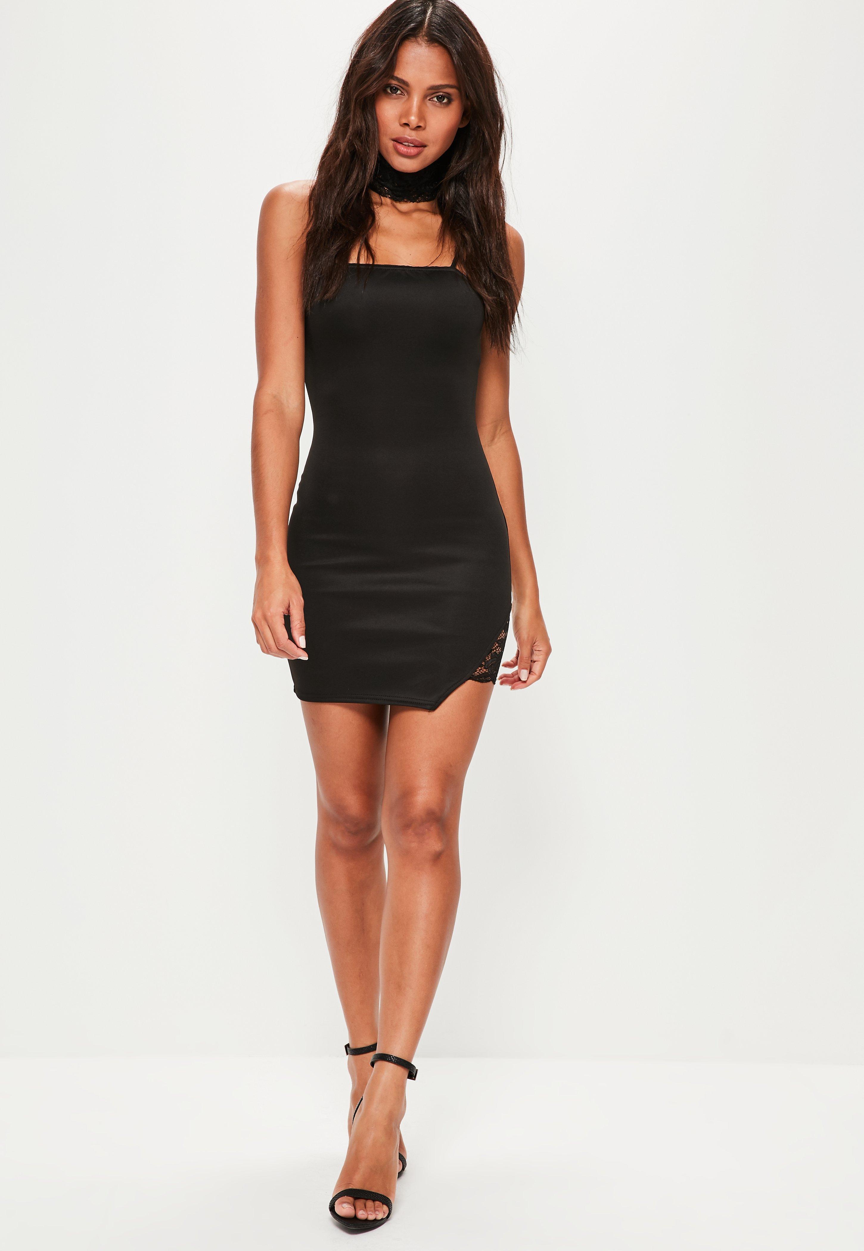 Black Choker Lace Insert Strappy Bodycon Mini Dress