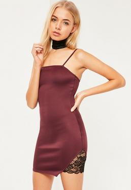 Burgundy Choker Lace Insert Strappy Bodycon Mini Dress
