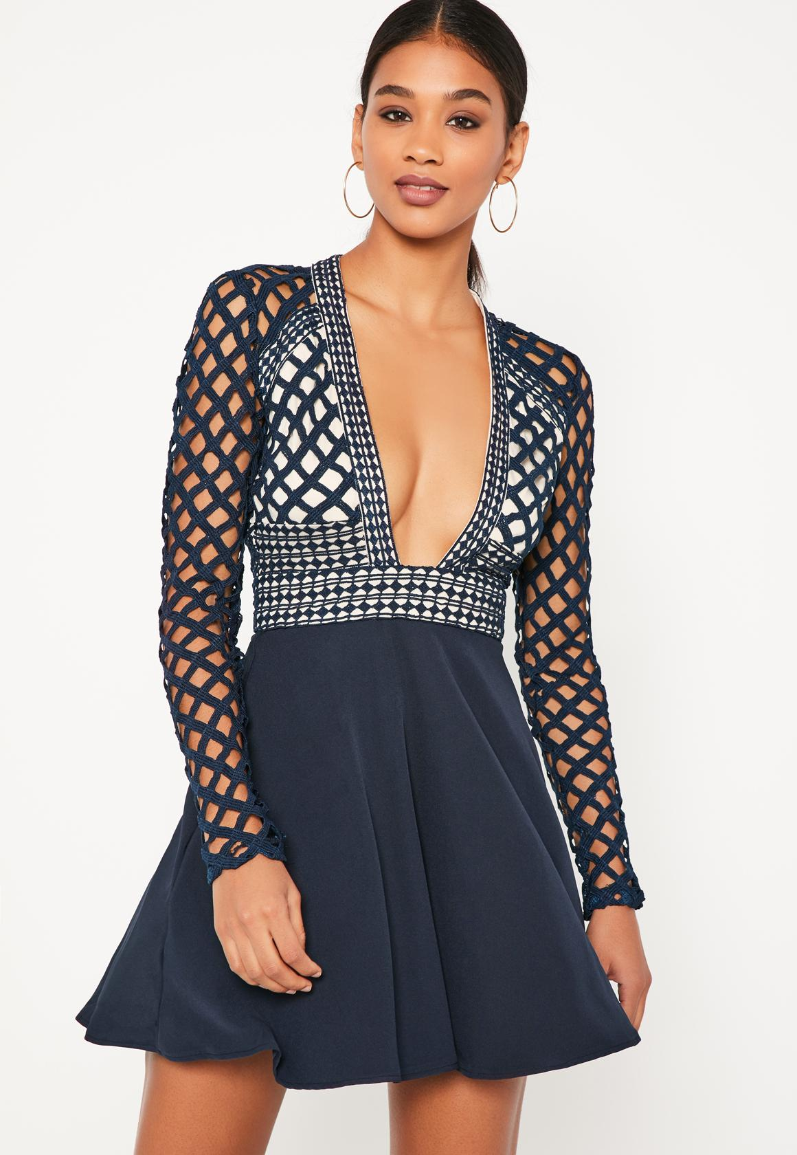 Missguided Blue Lace Plunge Long Sleeve Skater Dress at £25  610c989977eb