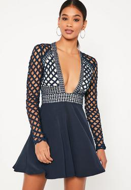 Blue Lace Plunge Long Sleeve Skater Dress