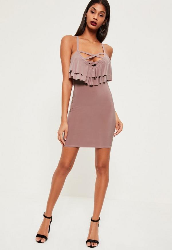 Pink Cross Front Frill Top Mini Dress