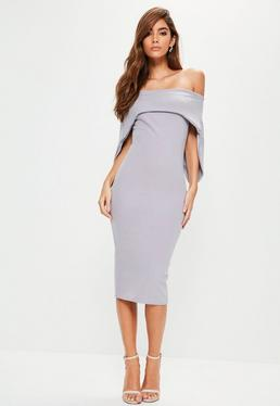 Lilac Fold Over Bandeau Midi Dress