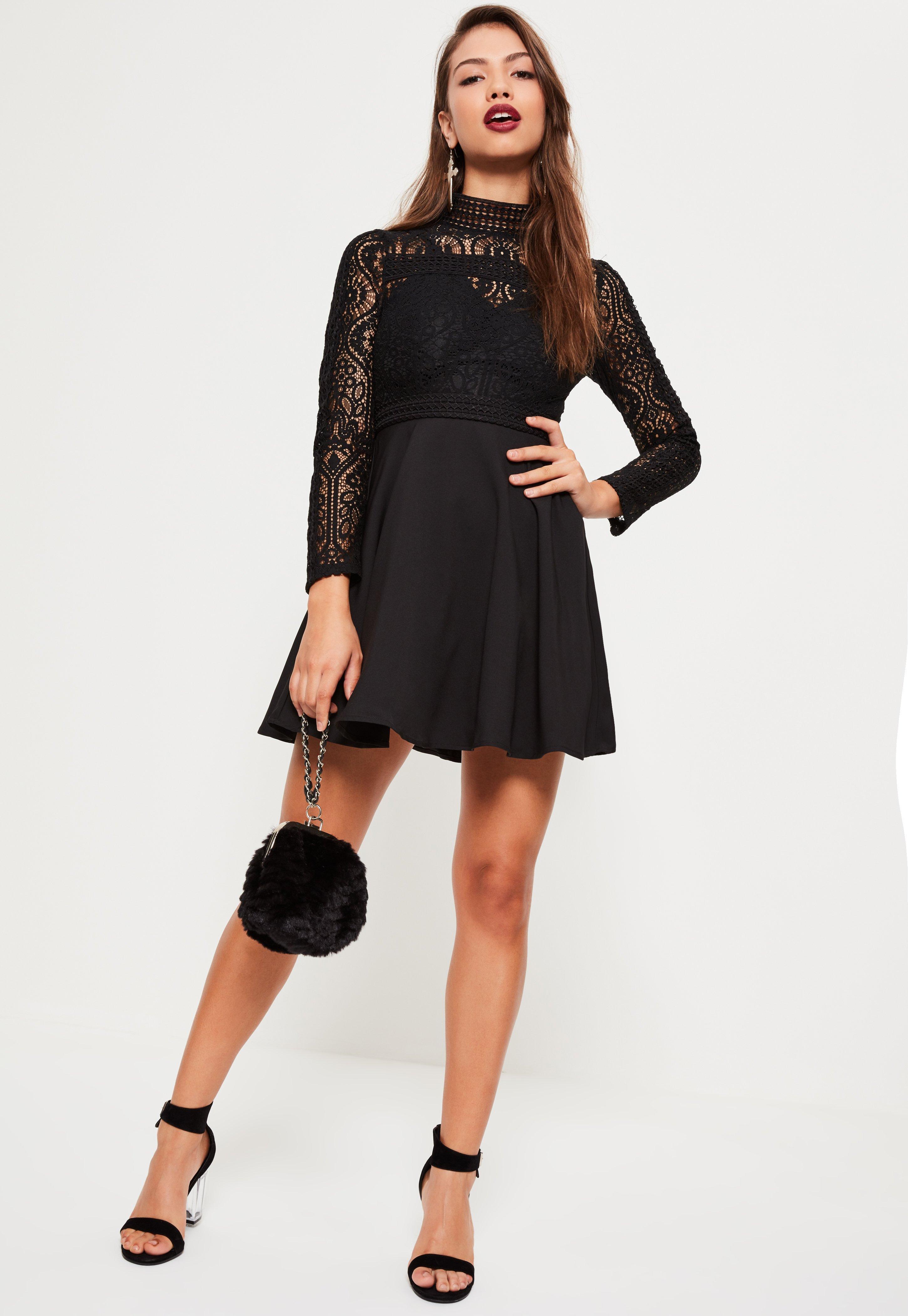 Black Lace High Neck Skater Dress