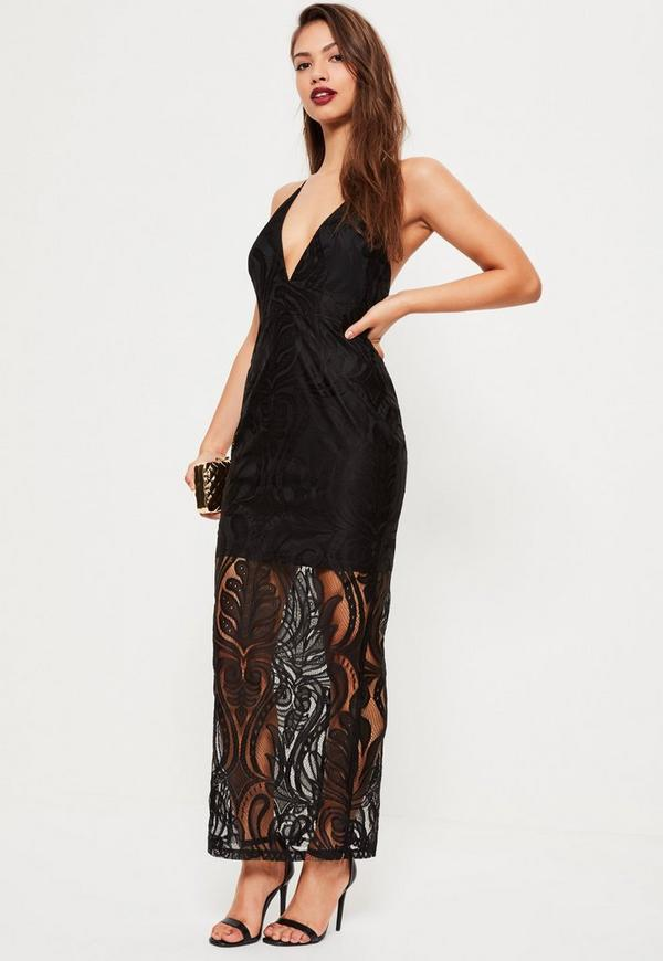 Black Lace Strappy Plunge Maxi Dress | Missguided