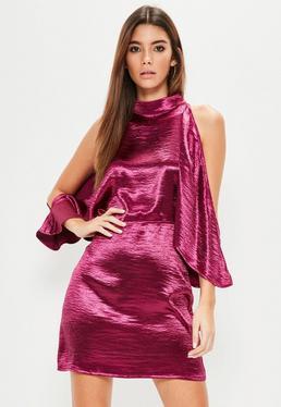 Pink Satin Cold Shoulder Shift Dress