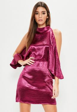 Pink Satin Cold Shoulder Shift Dress