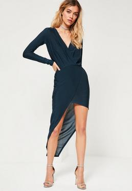Navy Long Sleeve Wrap Dress