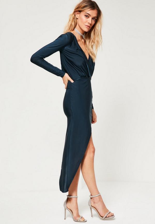 Navy Long Sleeve Wrap Dress | Missguided Australia