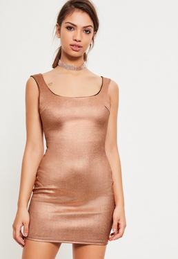 Bronze Scuba Foil Square Plunge Neck Mini Bodycon Dress