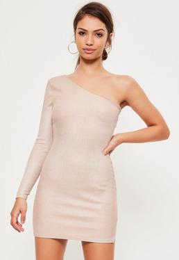 Pink Foil Ribbed One Shoulder Split Mini Dress