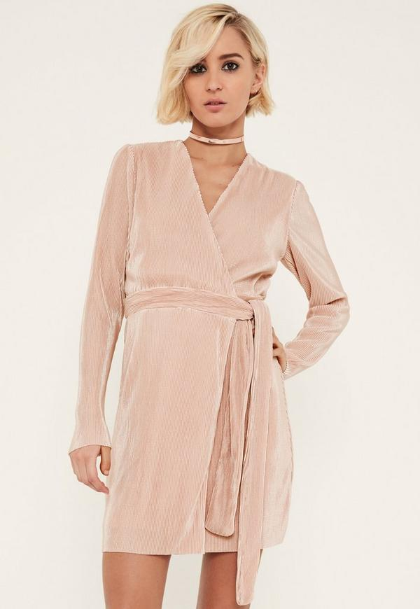 Pink Pleated Long Sleeve Wrap Dress