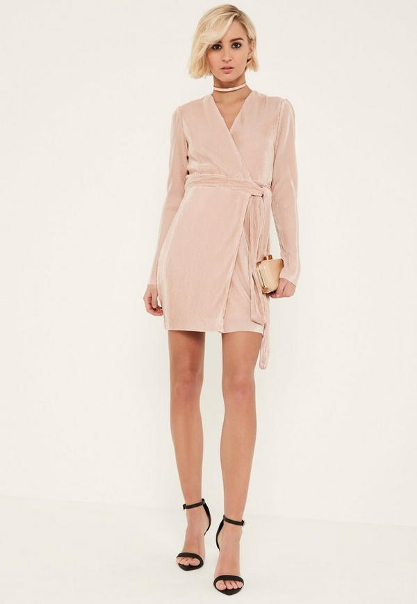 Pink Pleated Long Sleeve Wrap Dress - Missguided