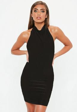 Black High Neck Cowl Bodycon Dress