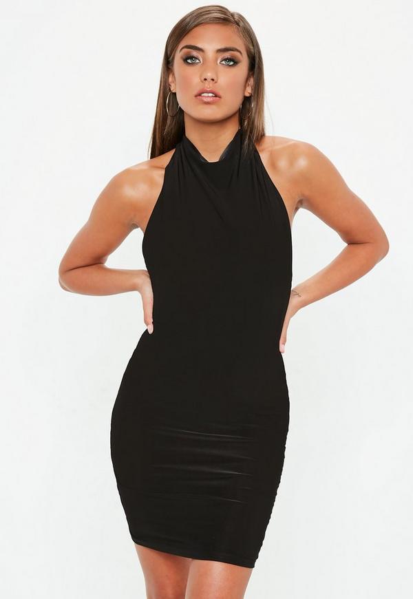 Neckholder-Kleid in Schwarz | Missguided