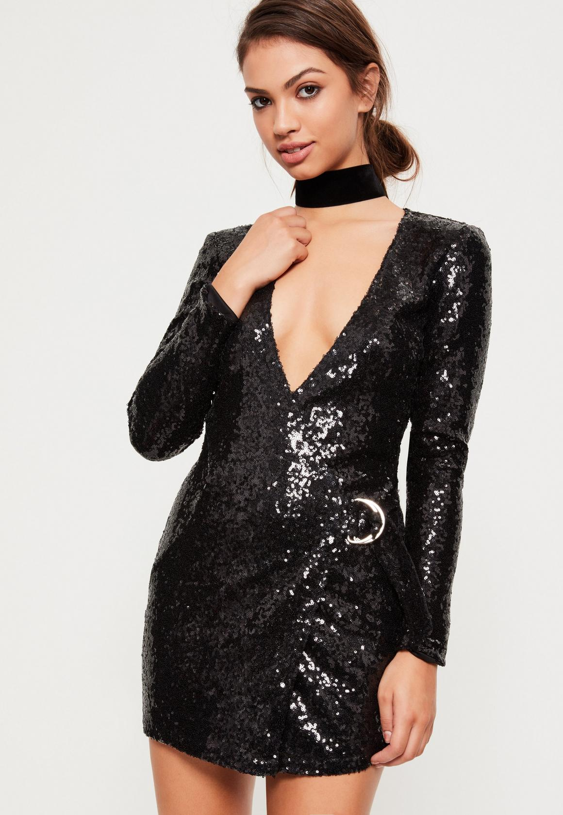 Black Sequin Plunge D Ring Wrap Dress | Missguided