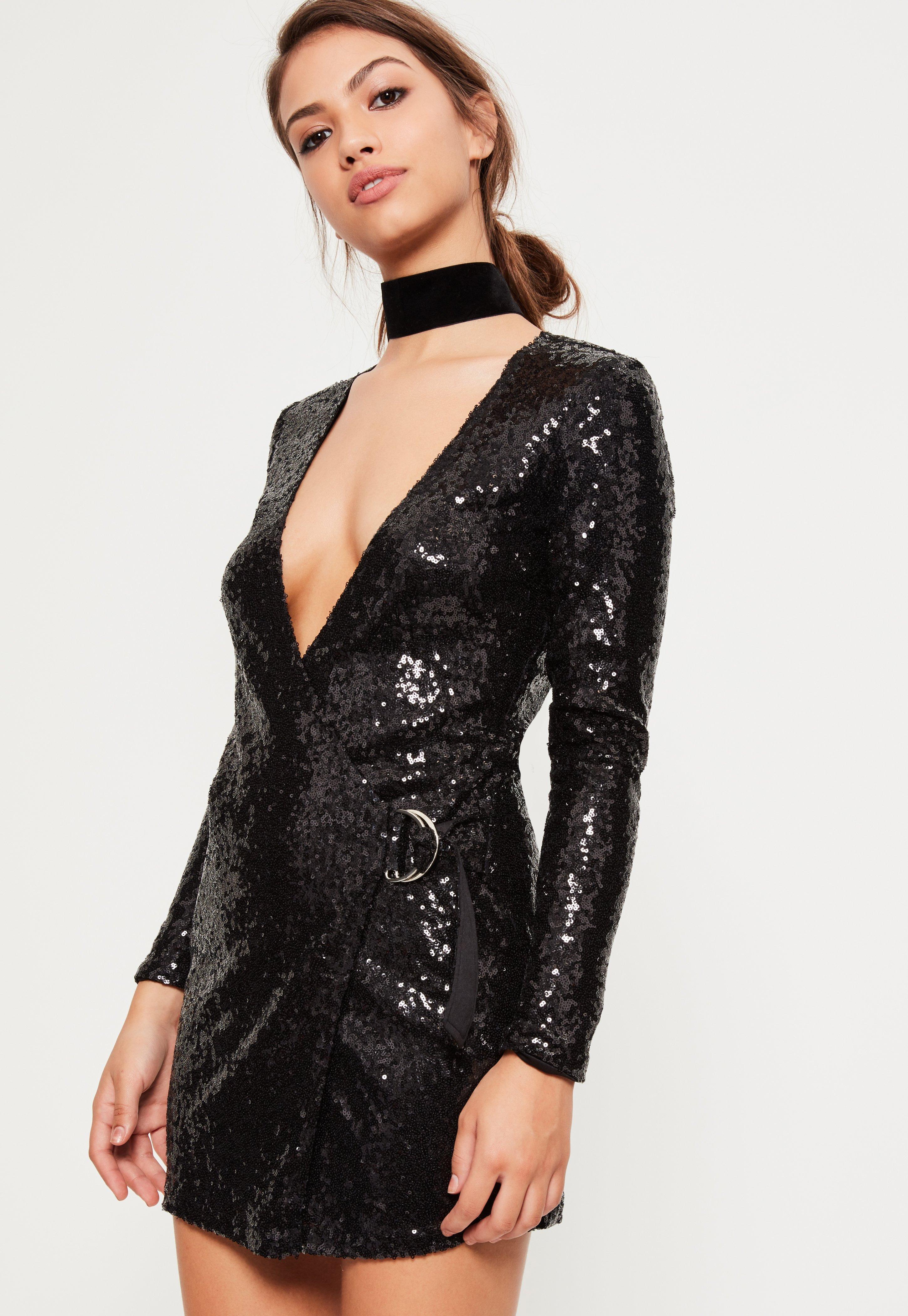 Black Sequin Plunge D Ring Wrap Dress