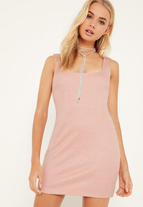 Pink Square Neck Bodycon Dress Pink