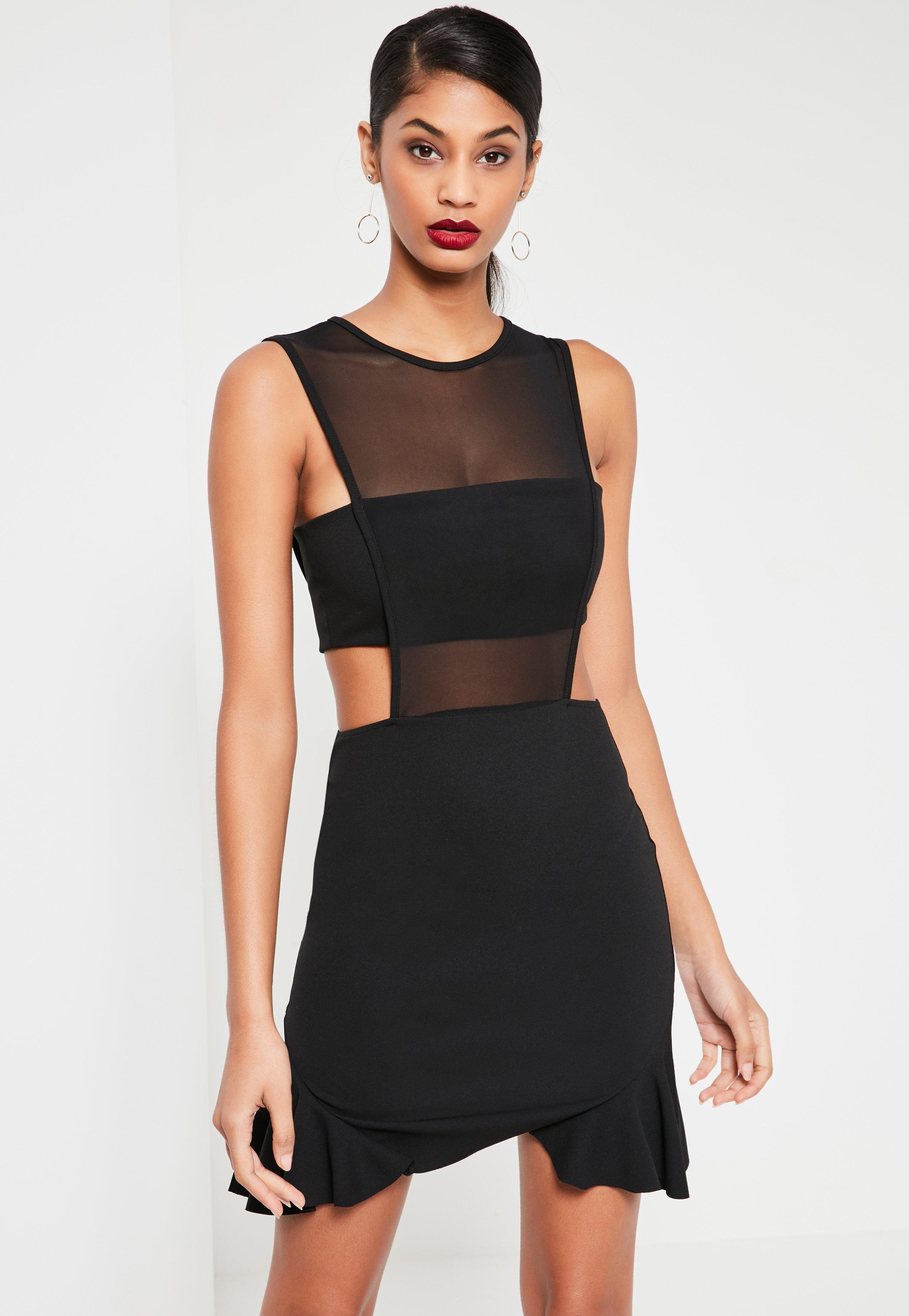 Black Mesh Insert Frill Hem Sleeveless Mini Dress