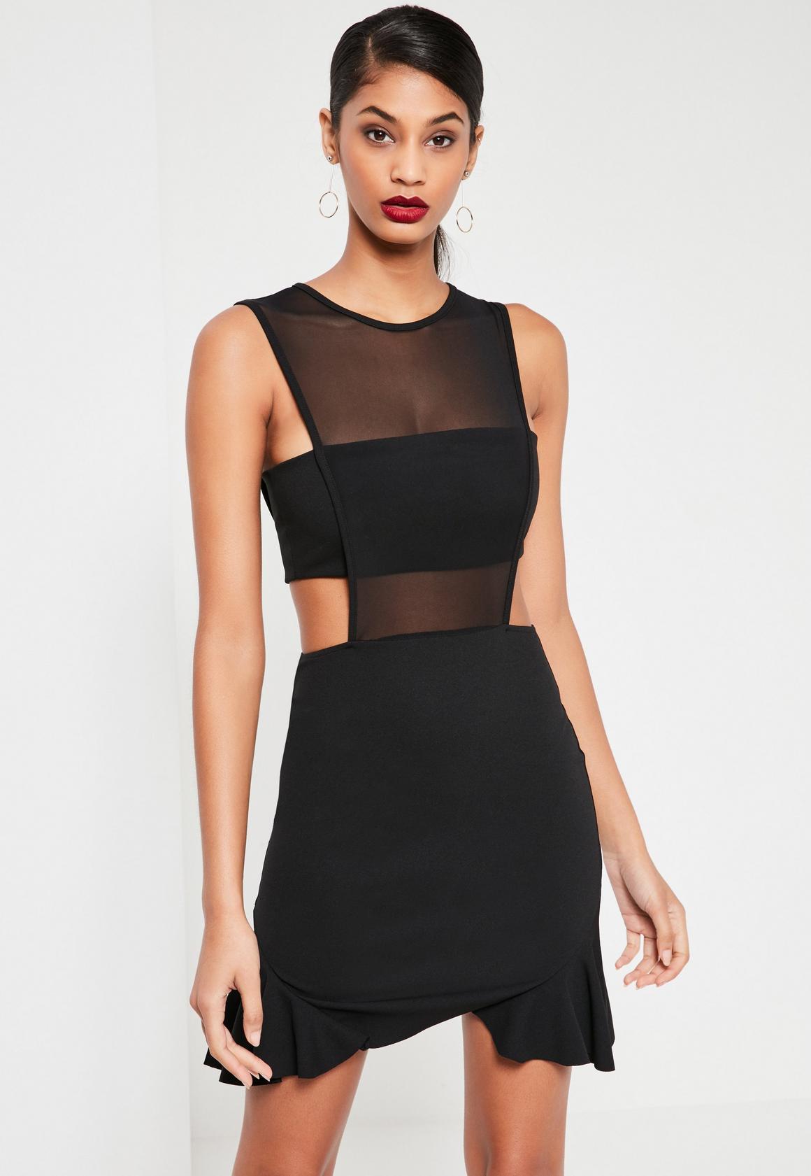 Black Mesh Insert Frill Hem Sleeveless Mini Dress | Missguided Ireland