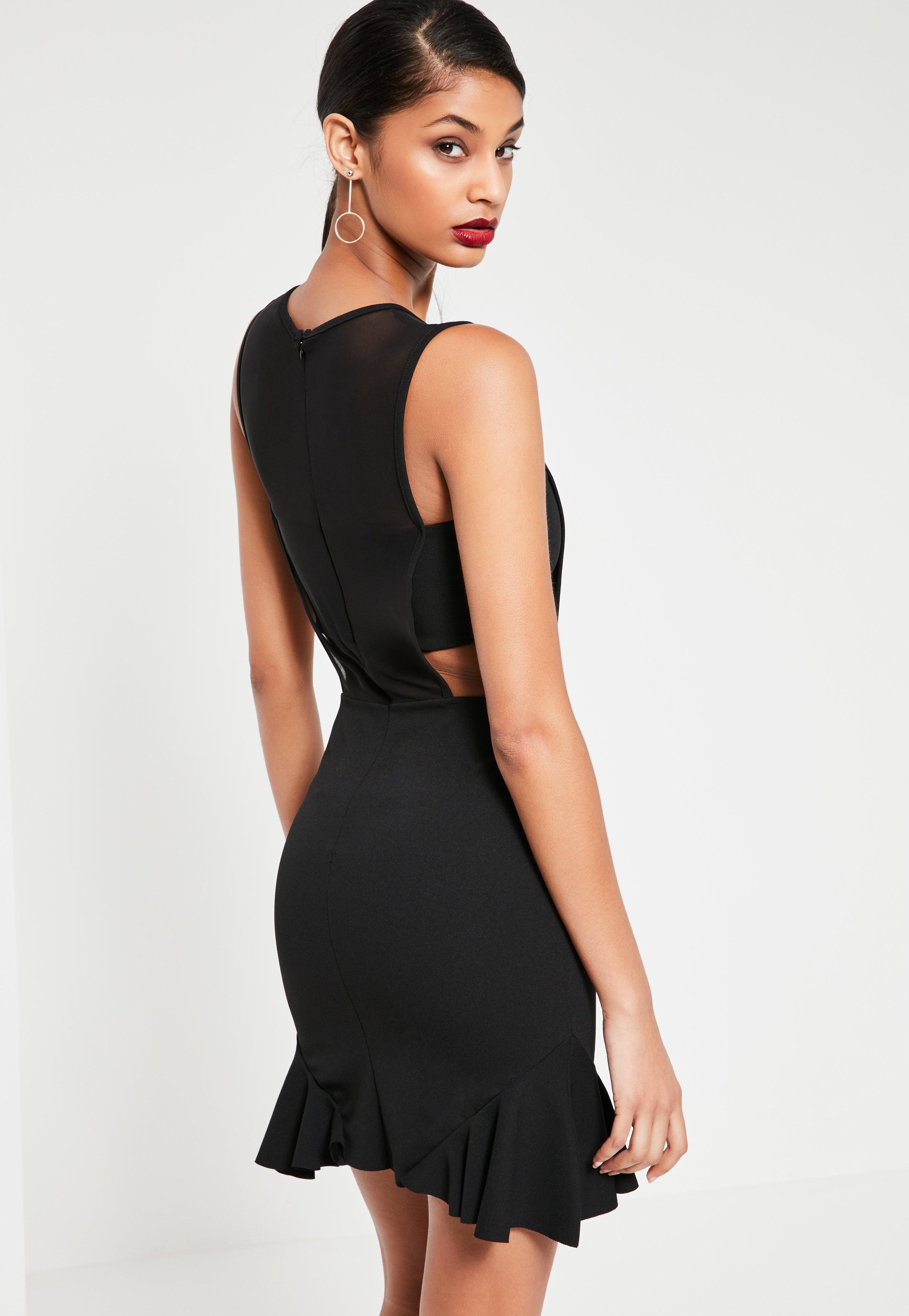 Black Mesh Insert Frill Hem Sleeveless Mini Dress