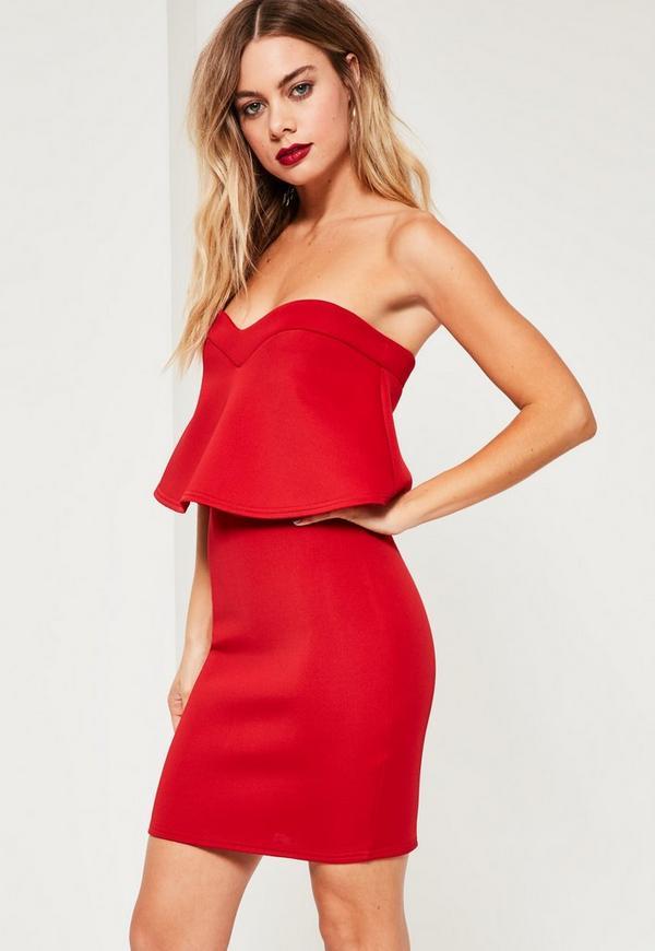 Red Bandeau Overlay Scuba Mini Dress