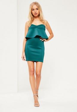 Green Strapless Overlay Scuba Mini Dress