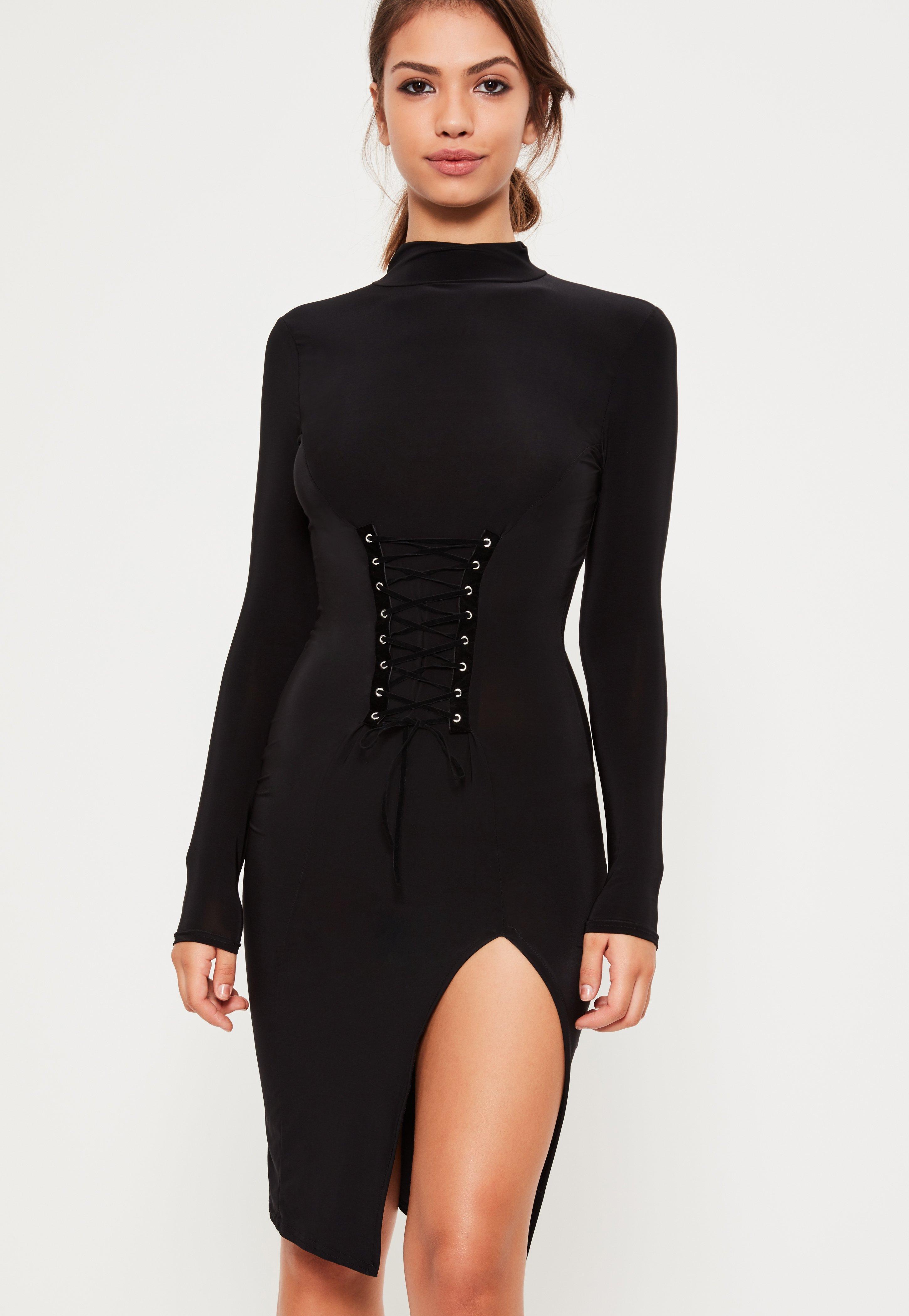 Black Slinky Corset Detail Bodycon Dress