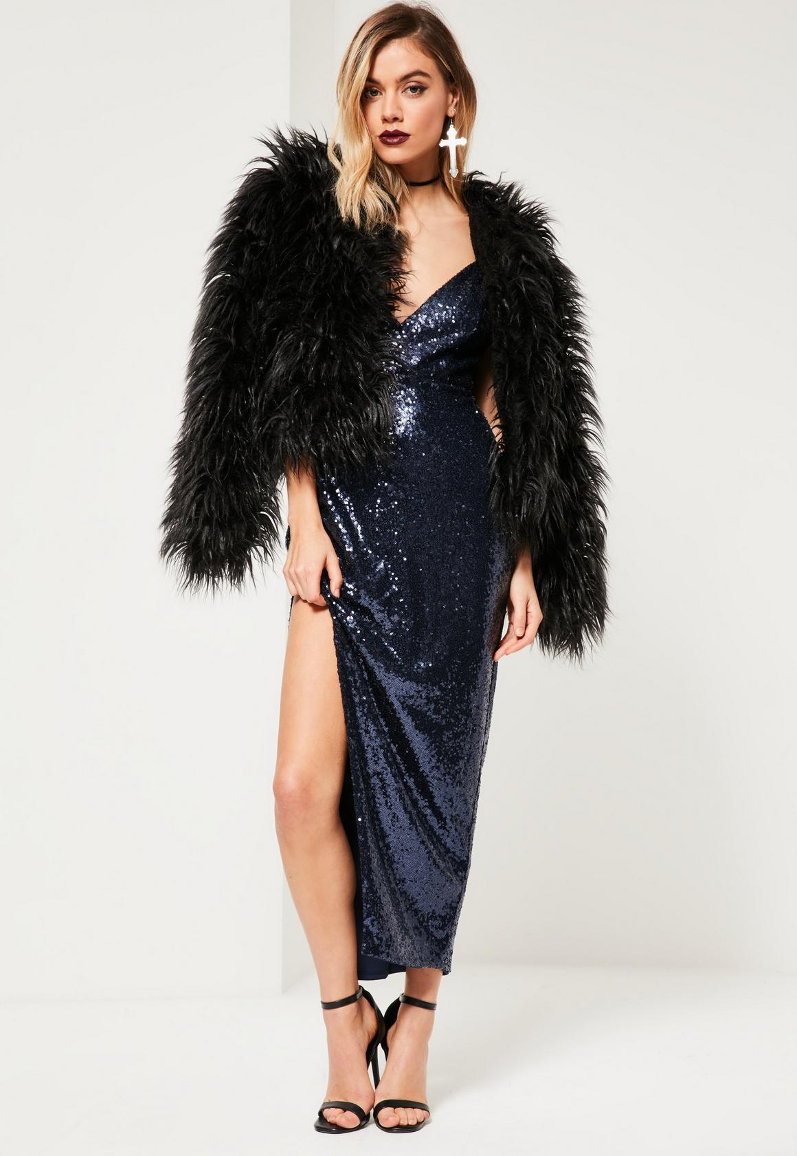 Navy Sequin Plunge Asymmetric Strap Maxi Dress | Missguided