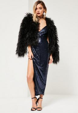 Navy Sequin Plunge Asymmetric Strap Maxi Dress
