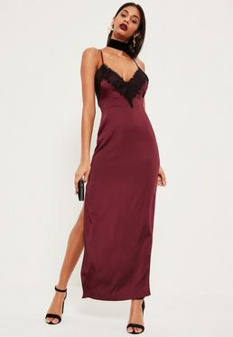 Burgundy Silky Eyelash Lace Maxi Dress