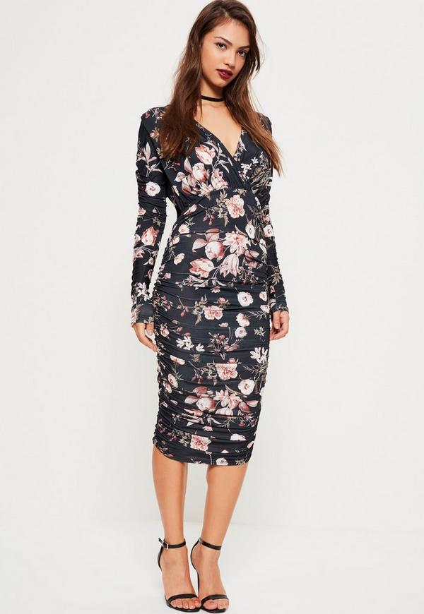 bb004ecaba Grey Ruched Sleeve Deep Plunge Floral Midi Dress