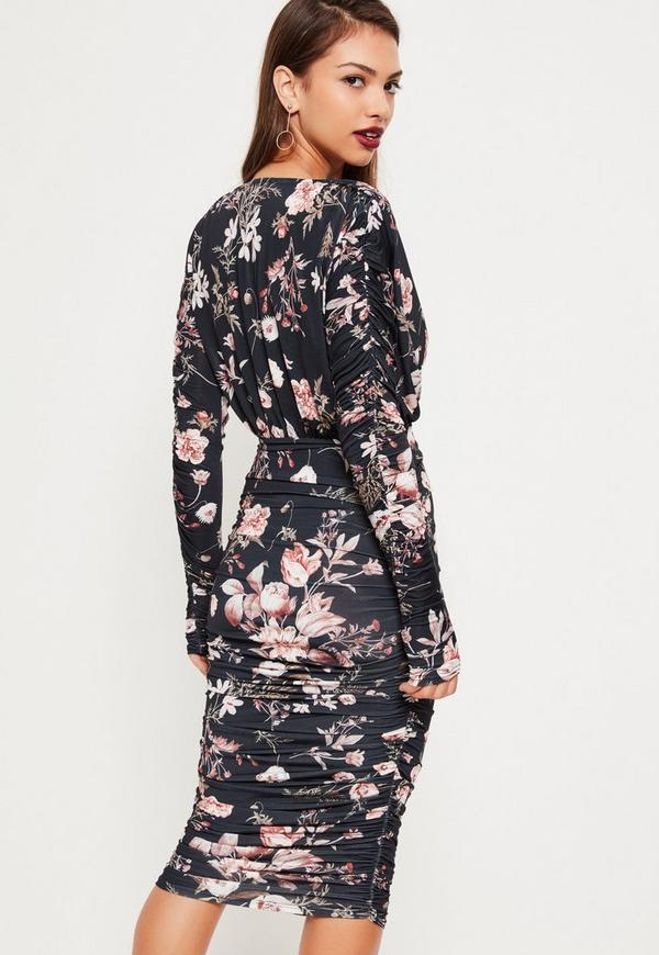 97b0ab60dc Grey Ruched Sleeve Deep Plunge Floral Midi Dress. €38.00. Previous Next