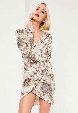 Nude Wrap Snake Print Long Sleeve Dress