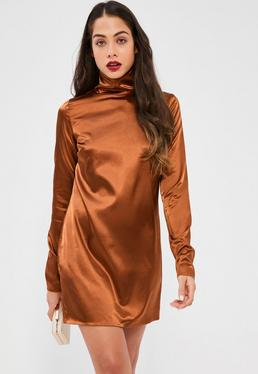 Bronze Silky High Neck Shift Dress