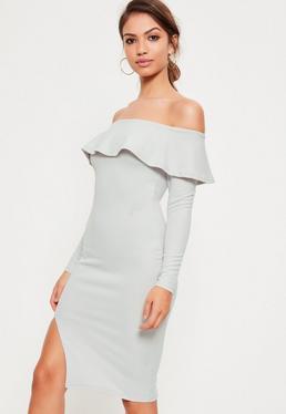 Grey Bardot Frill Split Midi Dress