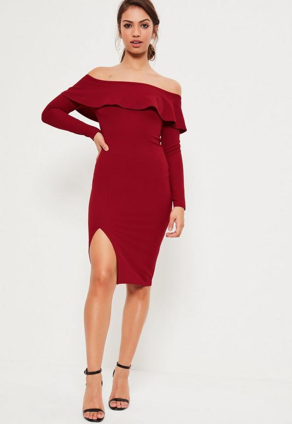 Red Bardot Frill Split Midi Dress