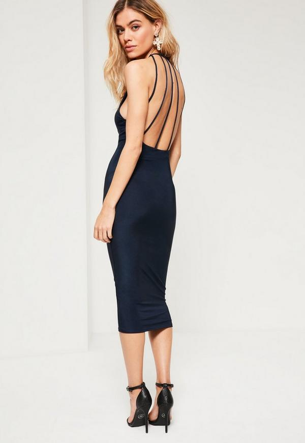 Navy Slinky Strappy Back Midi