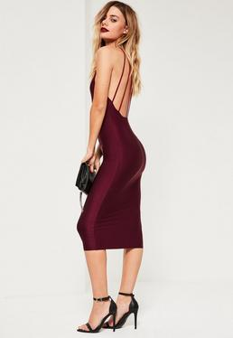 Burgundy Slinky Strappy Back Midi