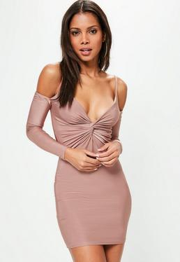 Pink Twist Front Cold Shoulder Bodycon Dress