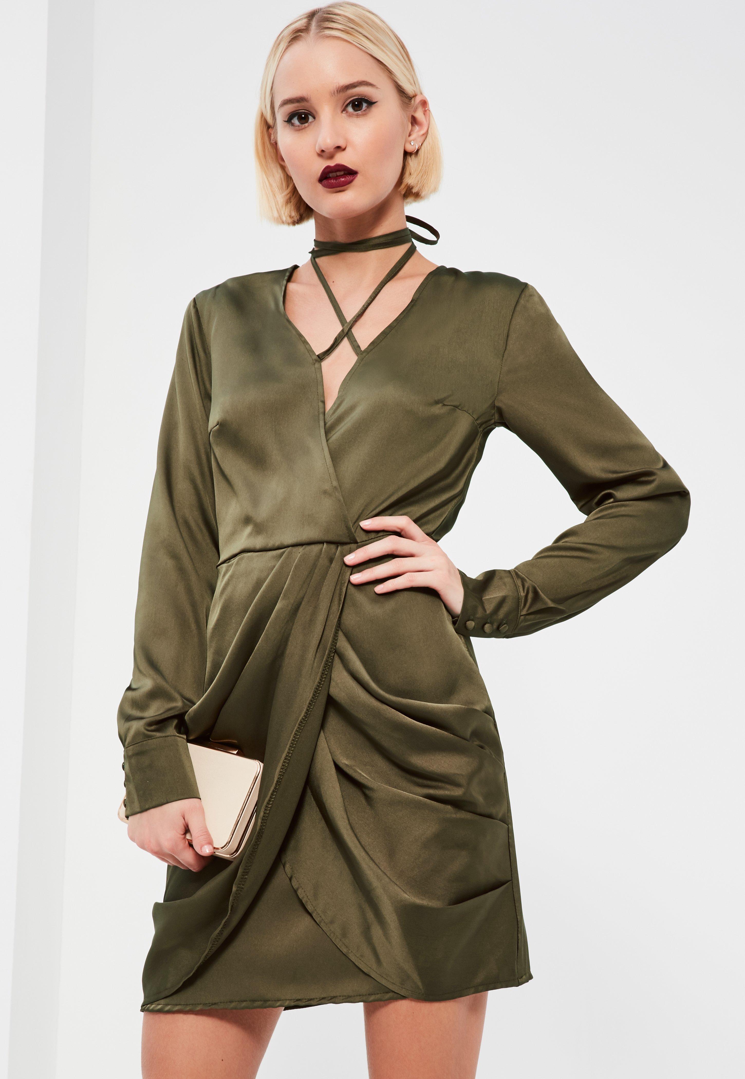 Khaki Silky Wrap Neck Shift Dress
