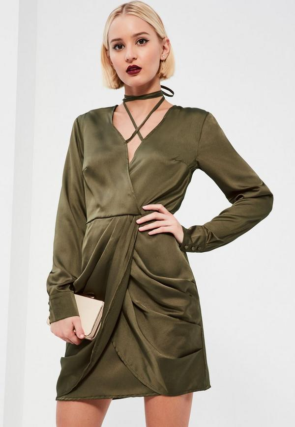 Khaki Silky Wrap Neck Shift Dress